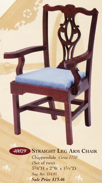 Catalog image of Straight Leg Chippendale Arm Chair